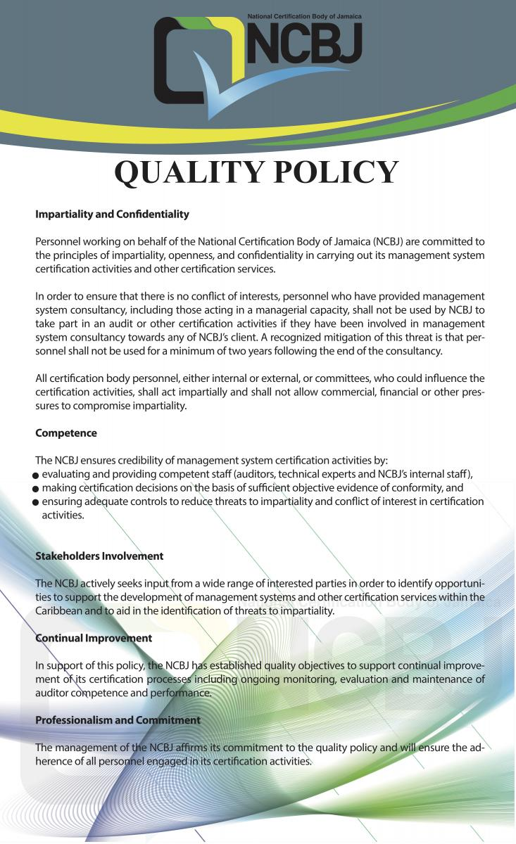 Quality Policy Ncbj National Certification Body Of Jamaica